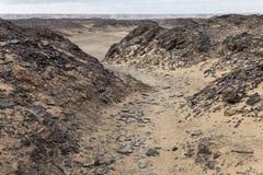 Path in the desert. Near bahariya, Egypt Stock Photo