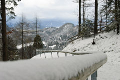 Path down the mountain,  Neuschwanstein Castle. Snow on railing and landscape of Neuschwanstein Castle environ Stock Image