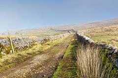 A path between drystone walls in the Yorkshire Dales. Royalty Free Stock Photography