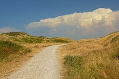 Path through a dune landscape along the Opal North Sea coast. PAth through the dunes along the Opal North Sea coast, Nord pas de Calais, France, on a sunny day royalty free stock image