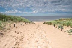 Path through the dunes. Sandy path through the dunes stock photos