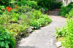 Path in an English cottage garden. Pretty path in sunlight in an English cottage garden Stock Photo