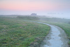 Path on farmland during foggy sunrise Stock Image