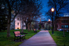Path at Federal Hill Park at night, in Baltimore, Maryland. Stock Photos