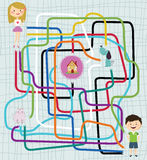 Path finder game. Path Finder Maze Game with Girl, Boy, Cat, Dog and House Royalty Free Stock Image