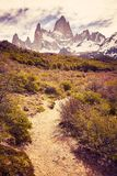 Path in the Fitz Roy Mountain Range, Argentina. Stock Photo