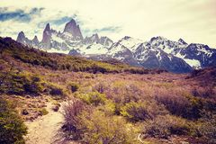 Path in the Fitz Roy Mountain Range, Argentina. Royalty Free Stock Images