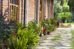 Path Flanked By Brick Wall And Potted Plants Stock Image