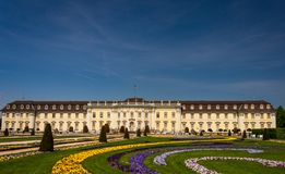 Path of flower leading to the Ludwigsburg Castel stock photography