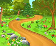 Path in the forest. Vector illustration of a path in a magical forest, vivid by its colorful flowers