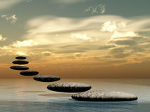 Path form zen stone to sun Royalty Free Stock Image