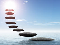 Path form zen stone to sun Royalty Free Stock Images