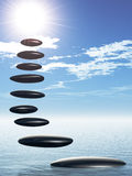 Path form zen stone to sun Royalty Free Stock Photos