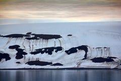 Islands Jackson, Payer Ziegler. Glaciers and snowfields. Path of Fridtjof Nansen. Islands along Both sound. The islands Jackson, Payer Ziegler. Glaciers Royalty Free Stock Photo