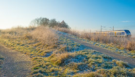 Path through a frozen field at sunrise Stock Photography