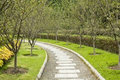 Path in the garden. Path in the public garden made of stone Royalty Free Stock Photos