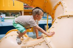 Path goal direction child boy park game concept. Active lifestyle. Obstinacy and purposefulness Stock Photo