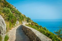 Path of the Gods, hiking adventures at Sorrento Peninsula. Italy Royalty Free Stock Image