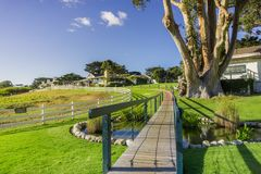 Path going over a green meadow; restaurants in the background, Carmel-by-the-Sea, Monterey Peninsula, California. Path going over a man made pond and green royalty free stock photo