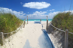 Path going to sea in Miami Beach Stock Photo