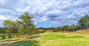 The path golf course grass Dalat in Vietnam Royalty Free Stock Images