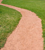 Path through grass. Red dirt path winds through green grass field / yard Royalty Free Stock Photo