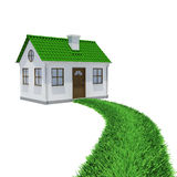 The path of grass leading to a small house. Isolated render on a white background Stock Photography