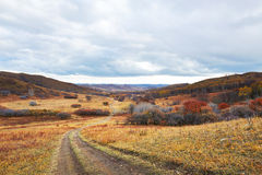 The path on the grassland in Beigoubei scenery spot Stock Photo