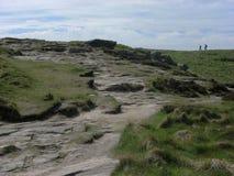 Path Through Grassy Terrain. A path through grassy terrain in England, near castle named Tintagel Stock Image