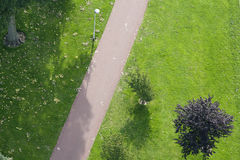 Path in green environment. Aerial view of a path in a green environment Royalty Free Stock Photography