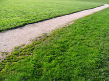 Path through green fields. Pathway receding through green fields or grass park royalty free stock photography