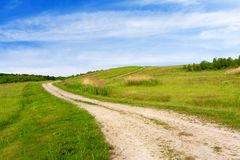 Path through green glades. Under blue sky Stock Photography