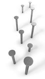 Path of hammered nails isolated on white. Background stock illustration
