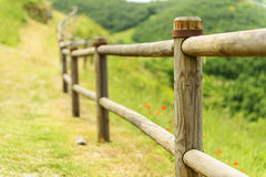 Path and handrail in village Elcito. Path and wooden handrail in village Elcito, Italy, Marche royalty free stock photos