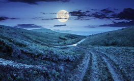 Path through highland meadows at night Royalty Free Stock Photography