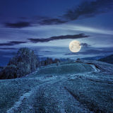 Path on hillside meadow in mountain at night Royalty Free Stock Image
