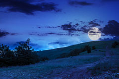 Path on hillside meadow in mountain at night Stock Image