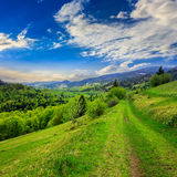 Path on hillside meadow in mountain Royalty Free Stock Image