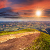 Path  on hillside meadow in mountain Royalty Free Stock Photography