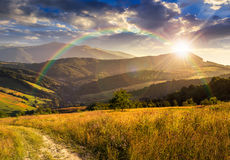 Path on hillside meadow in mountain at sunset Stock Photo
