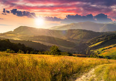 Path on hillside meadow in mountain at sunset Royalty Free Stock Images