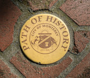 Path of History, Monterey, California. Monterey, California sidewalk markers lead you through the historic district royalty free stock image