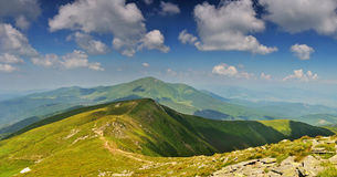 Path from Hoverla mountain to Petros mountain Royalty Free Stock Images