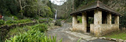 Path and Hut. Path leading past hut in panoramic image Stock Photos