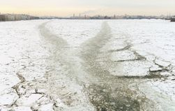 Path on the ice from the ship. The river was the icebreaker.He broke the ice for other vessels Stock Images