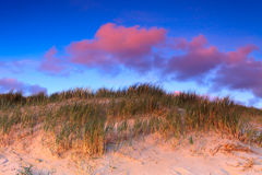 Path In The Sand Dunes At Sunset Stock Photos