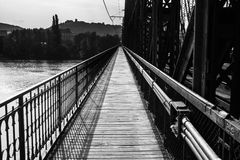 Path on industrial bridge leading to far away Royalty Free Stock Images