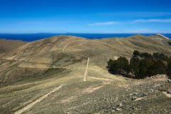 Path on Isla del Sol in Lake Titicaca, Bolivia Stock Image