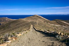 Path on Isla del Sol in Lake Titicaca, Bolivia Royalty Free Stock Photos