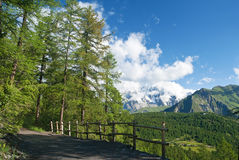 Path in italian Alps. Beautiful path in Italian Alps with mont Blanc on background Royalty Free Stock Photo